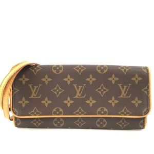 Clutch Twin  Brown Monogram Canvas Cross Body Bag